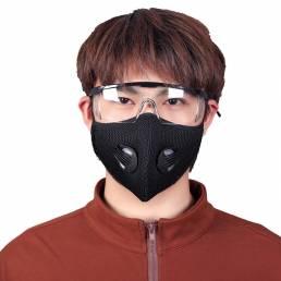 Cara de ciclismo a prueba de polvo BIKIGHT Mascara + Gafas de respiración respirador de carbón activado transpirable Mas