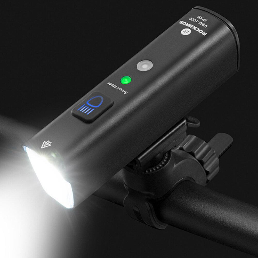 Luz de bicicleta ROCKBROS V9M-1000 1000lm Impermeable 5 modos USB recargable faro de bicicleta luz delantera de biciclet