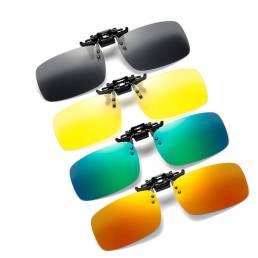 Hombres Mujer Clip polarizado en gafas de sol para conducir en bicicleta Visión nocturna Sol amarillo cuadrado Gafas con