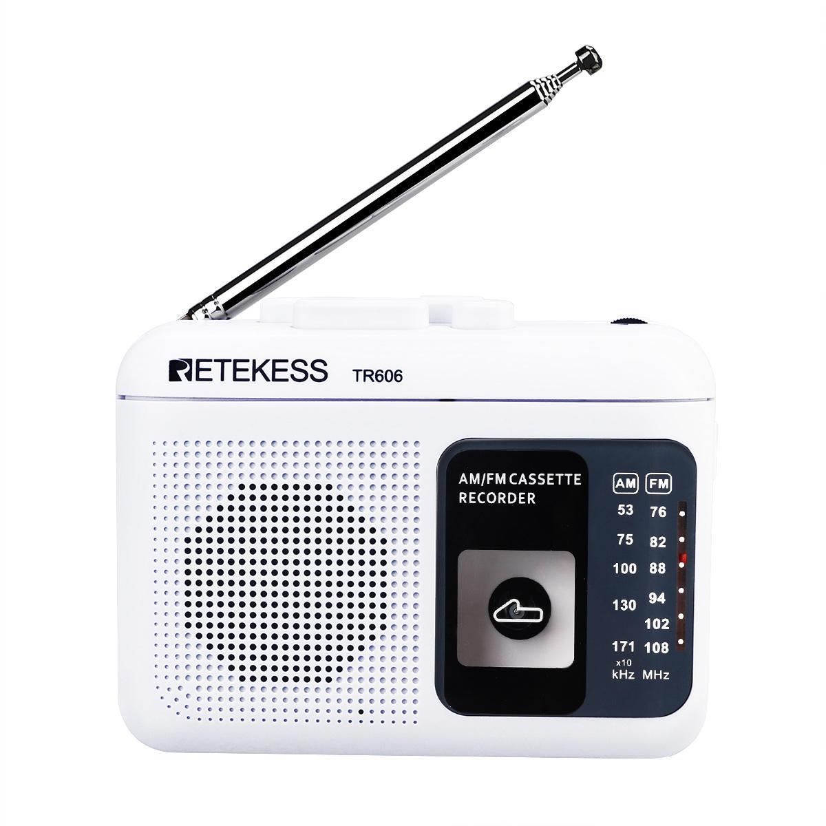 Retekess TR-606 FM AM portátil Radio con grabadora de voz de reproducción de cassette