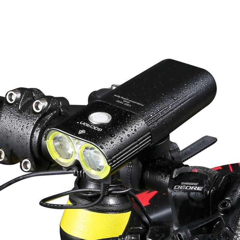 GACIRON V9D 1600LM 5000mAh Faro de bicicleta Aleación de aluminio IPX6 Impermeable Carga USB 5 modos de luces Banco de e