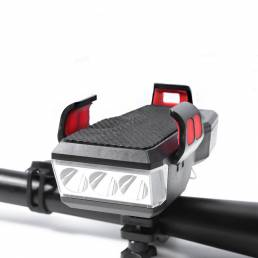 XANES® 4-en-1 550LM Faro de bicicleta 4 modos Luces delanteras de bicicleta Cuerno de 130dB Soporte para teléfono de 4-6