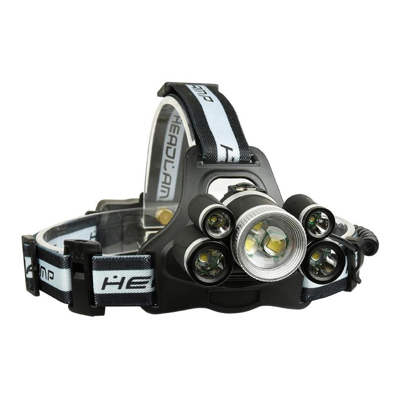 XANES 2508A 2800LM 2 × XPE + 5 × T6 7LED 5 modos de carga USB Mecánico Zoom faro 18650 Batería