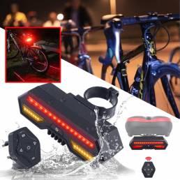 Bicicleta Bicicleta trasera Láser LED Indicador Luz de señal de giro Inalámbrica Control remoto Luz trasera Carga USB