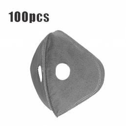 100 piezas de 5 capas de ciclismo Mascara Reemplazo de filtro Anti Polvo PM2.5 Filtro de carbón activado para bicicleta
