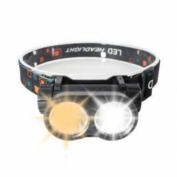 XANES® 180 ° ajustable doble LED Faro de luz fuerte Ciclismo Faro de noche pesca Impermeable Linterna Carga USB Luz cáli