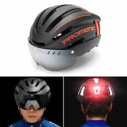 Casco de ciclismo PROMEND Racing con gafas y luz trasera para hombre