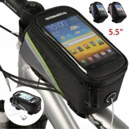 ROSWHEEL 5.5 pulgadas Teléfono para bicicleta Bolsa Pantalla táctil a prueba de lluvia Marco frontal para bicicleta Bols