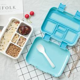 800 ml BPA Almuerzo Caja Refrigerador Fresco Caja Almacenamiento de granos sellado Caja con 5 compartimentos de sellado
