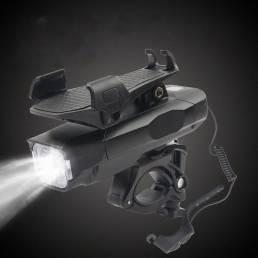 XANES® 4-in-1 Bike Headlight T6 500lm 3 modos Bike Front Lámpara Power Bank Phone Hold 120dB Horn para 4-6.3inch Phone C