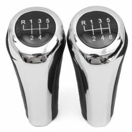 5 6 marchas de cuero cromado de aluminio Manual Gear Shift Knob para BMW E82 E90 E91 E60 E63 E83 E84 E53