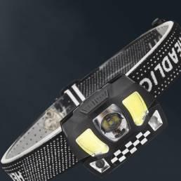 XANES® HL9 800LM COBXPG Sensor de inducción Linterna frontal 3 modos Carga USB Rotación de 45 ° Ciclismo Caza Lintern
