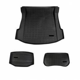 3 unids Negro Coche Estera del tronco Modificado TPE Pad Frente Trasero Carga Liner Para Tesla modelo 3