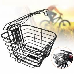 Cesta delantera de bicicleta de metal Alambre Almacenamiento de bicicletas de montaña Bolsa Caso Cesta colgante con tapa