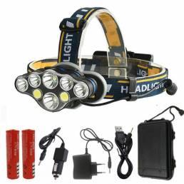 XANES® 2606-8 3300LM 2xT6 + 4xXPE + 2xCOB LED Linterna frontal 8 modos Carga USB cámping Ciclismo Caza Linterna de emerg