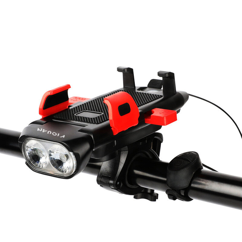 Luz de bicicleta 4 en 1 500lm 3 modos Faro de bicicleta ajustable 130dB 5 Mods Cuerno Soporte para teléfono Banco de ene